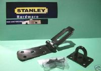 "STANLEY 8"" HEAVY DUTY Black SECURE Hasp/staple with fixings 83-2255"